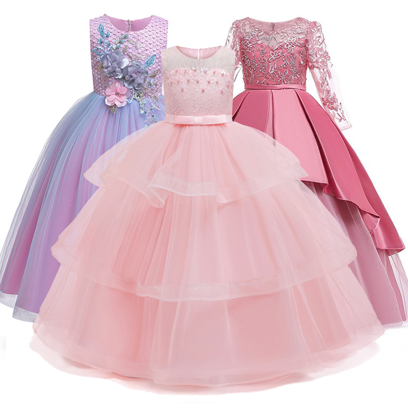 4-14Y Lace Teenagers Kids Girls Wedding Long <font><b>Dress</b></font> elegant <font><b>Princess</b></font> <font><b>Party</b></font> Pageant Christmas Formal Sleeveless <font><b>Dress</b></font> Clothes image