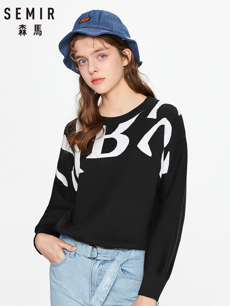 SEMIR Sweater Women 2020 Spring New Fashion Trend Large Letters Loose Sweater Round Neck Pullover Sweater Woman
