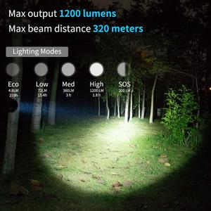 Image 3 - WUBEN L60 LED Zoomable Flashlight USB Rechargeable Torch 1200 Lumens 18650 Battery IP68 Waterproof LED 5 Lighting Modes for Camp