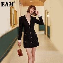 [EAM] נשים שחור אחת חזה טמפרמנט שמלה חדש V צוואר ארוך שרוול Loose Fit אופנה גאות אביב סתיו 2020 1H836