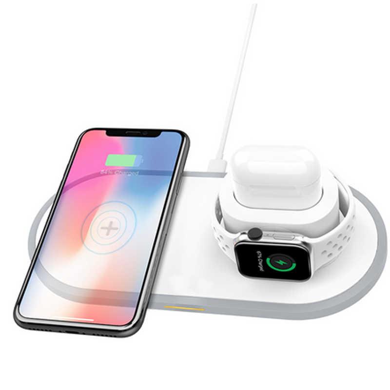 Cargador inalámbrico rápido Qi 3 en 1 para iPhone 8 11 pro X XS Max XR para Apple Watch 4 3 2 Airpods 10W de carga rápida para Samsung