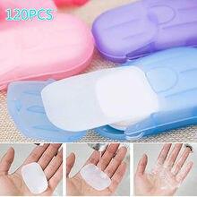 20 40 60 120 sztuka/pudło podróż mycie rąk papier mydlany wielofunkcyjny aromat papier do czyszczenia w plasterkach jednorazowe pudełko Mini mydło