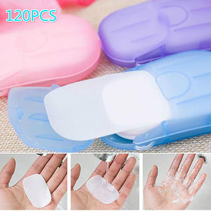 20 40 60 120PC/Box Travel Hand-washing Soap Paper Multifunctional Aroma Sliced Cleaning Paper Disposable Boxed Mini Soap