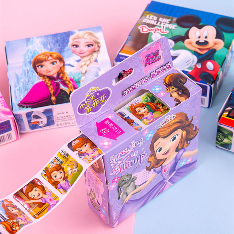 Offre spéciale 200 pièces/boîte Disney dessin animé autocollants Disney reine des neiges Elsa et Anna princesse Sofia Mickey enfants autocollants amovibles jouets