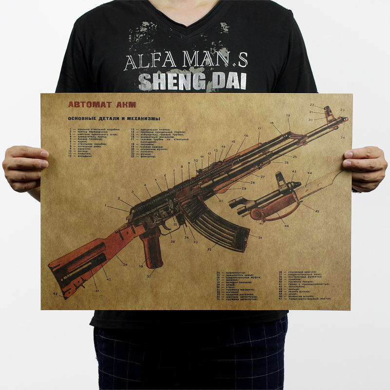 Gun AKM Assault Rifle AK47 Modified Structure Chart Kraft Paper Poster Home Garage Wall Art Decoration DIY Retro School Prints