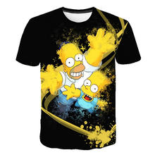 2010 men's summer new fun Homer Simpson and his son 3D printed short-sleeved T-shirts, stylish casual tops and unisex clothes