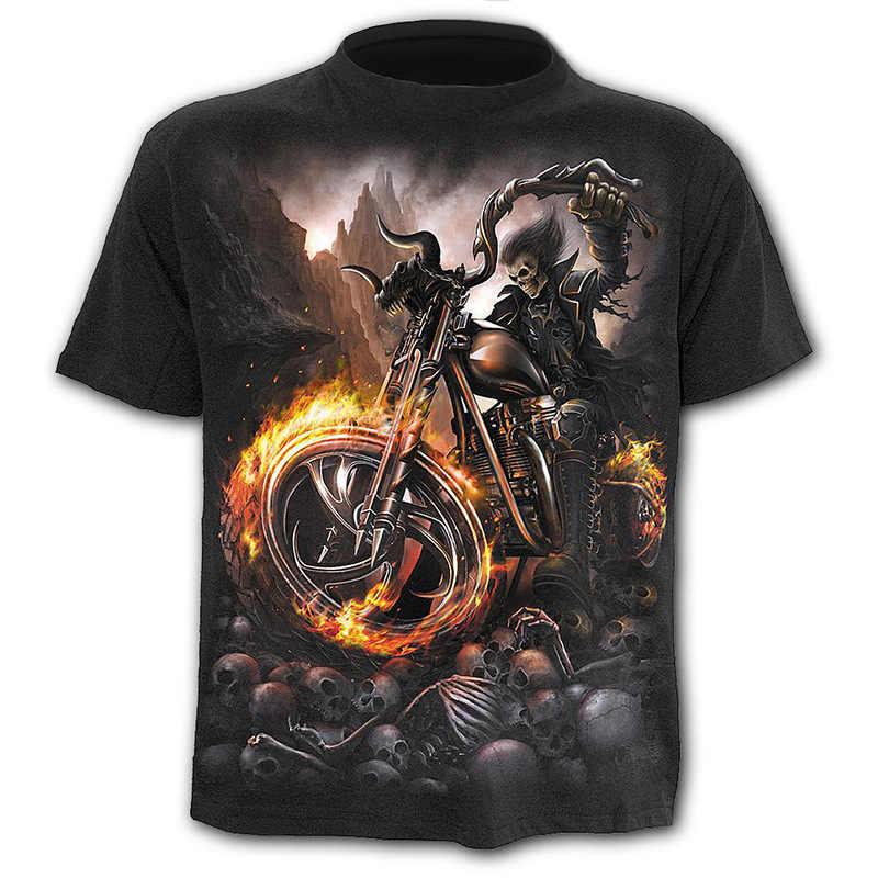 Sondirane Polyester 3D impreso Cool Man Riding A Motorcycle Camisetas divertidas Camisetas de Verano Camisetas Verano cráneo camiseta