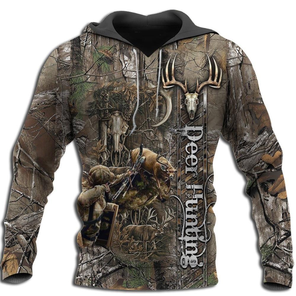 Deer Hunting 3D All Over Printed Hoodie Men Women Fashion Harajuku Sweatshirt Casual Hooded Pullover Jacket -0055