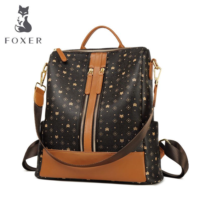 FOXER New Design Retro Travel Bag Large Capacity Women Backpack PVC Lady Classical Laptop Bag Commuter Style Embossing Backpack