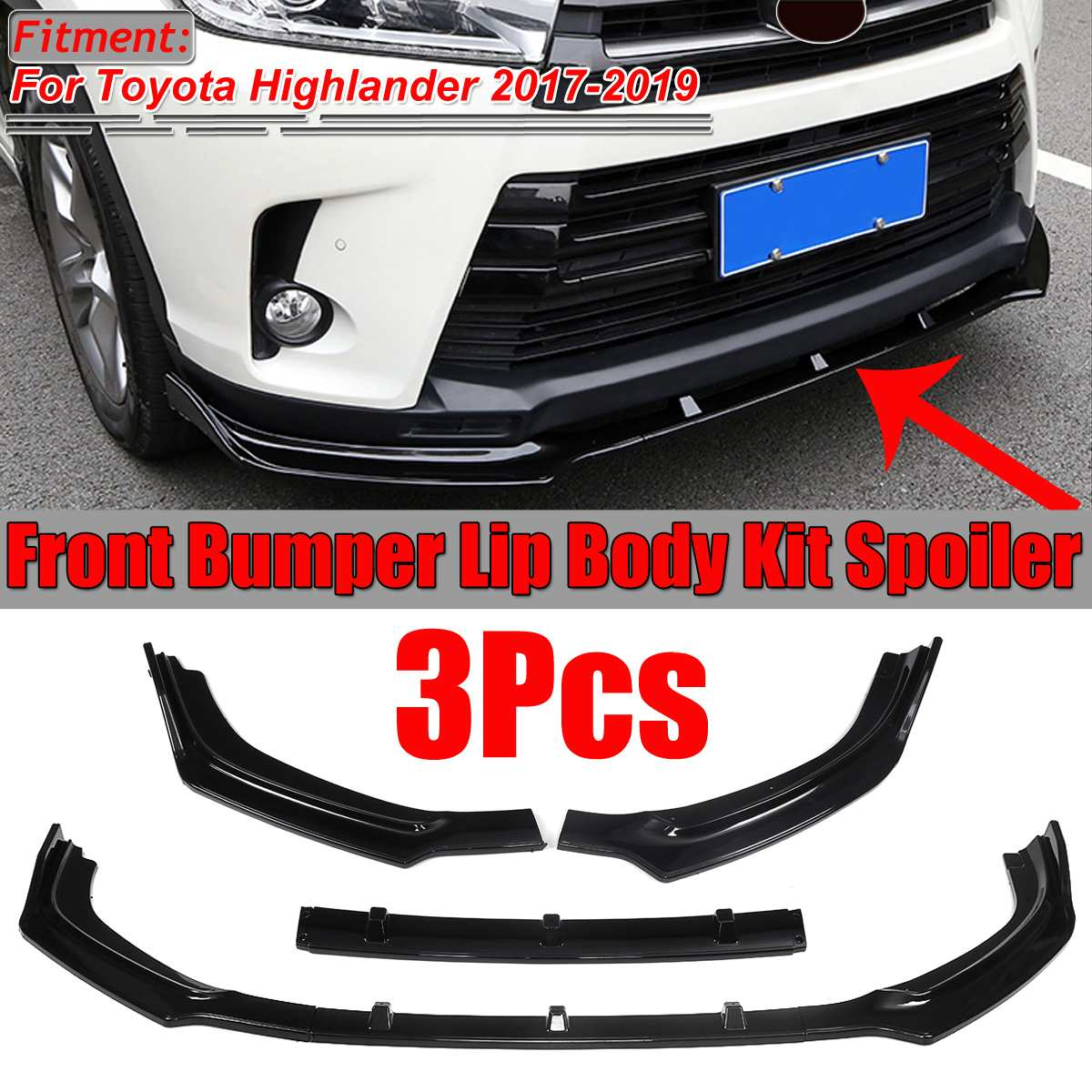 3pcs Bright black Front Bumper Lip Body Kit Spoiler For Honda Civic 2016-2018