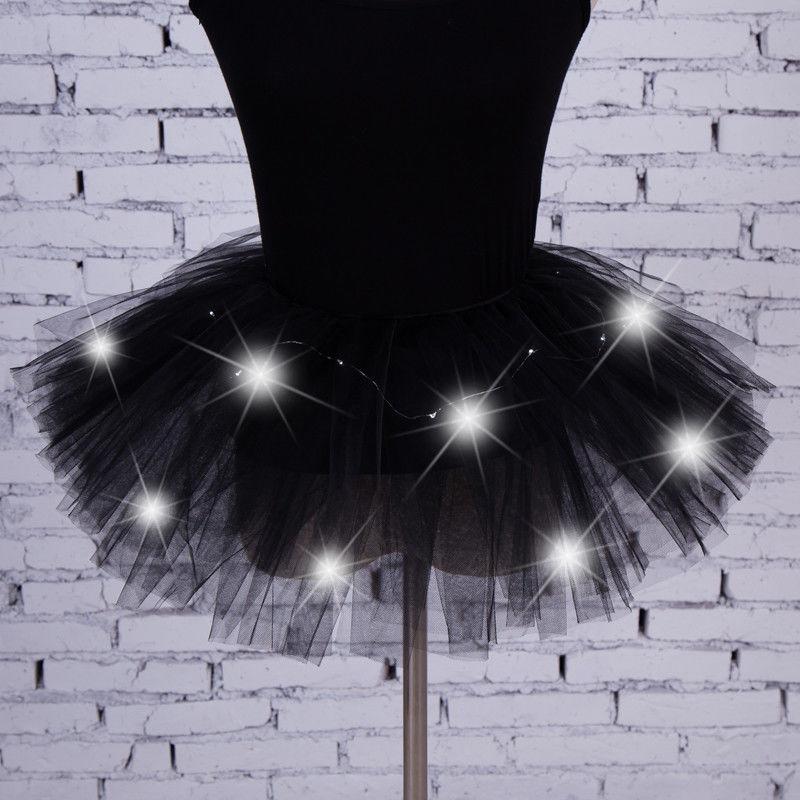 Dance Led Lights Tutu Mesh Party Skirts Women Tulle Skirt Sexy Mini Adult Fluffy Yarn Ballet Dance Halloween Light Up - Rave