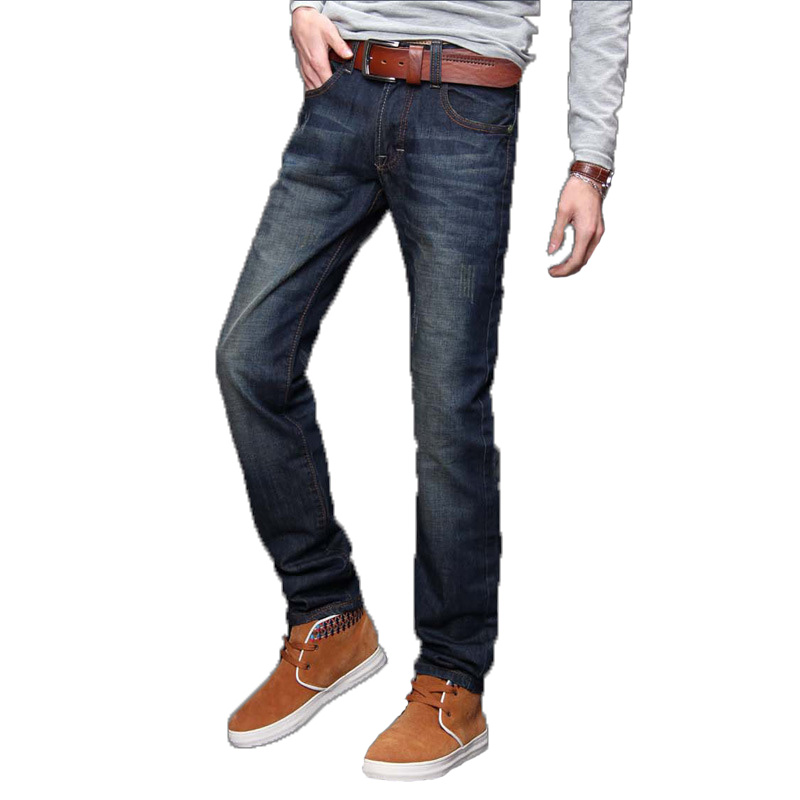 New Classic Winter Autumn Men Jeans Wash Finished Fabric Slim Cut Multible Sizes Man Pants Inseam Binded With Tape Male Jeans