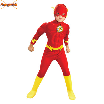 The Flash Costume Kids Superhero Barry Allen Cosplay Anime Childrens Halloween Costumes for Muscle Clothes