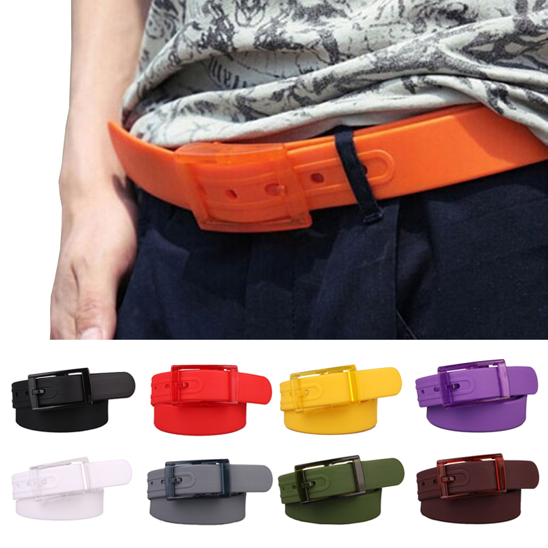 3.5*120cm Unisex Men Women Fashion Candy Color Silicone Smooth Waist Belt Buckle Waistband