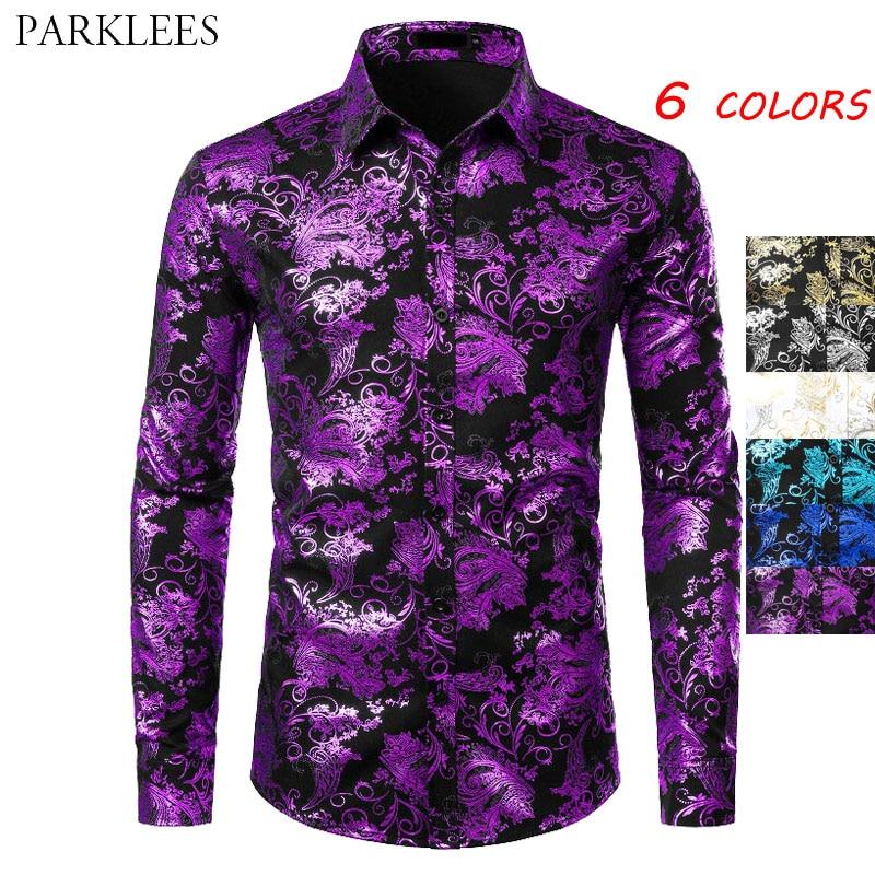 Purple Mens Floral Bronzing Shirt Men Shiny Flower Men Shirt Luxury Fashion Party Mens Dress Shirts Casual Club Camisa Masculina