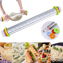 Adjustable Stainless Steel+PP Rolling Pins Adjust Thickness Scale Rolling Stick Kneading Tools Scale 17Inch 4Thickness Rulers
