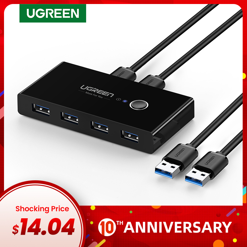 Ugreen USB KVM Switch Box USB 3.0 2.0 Switcher 2 Port PCs Sharing 4 Devices For Keyboard Mouse Printer Monitor Switch Selector