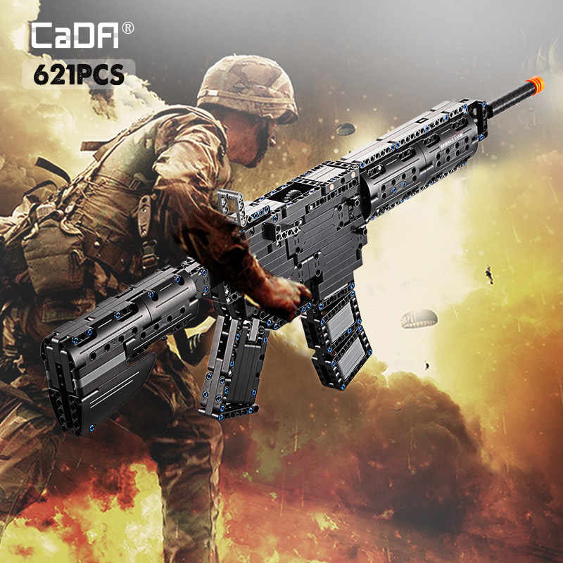 cada 621PCS M4A1 Carbine Rubberband gun Model Building Block legoing Military City Technology Launch gun toys for kids