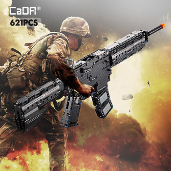 Cada 621PCS M4A1 Carbine Rubberband Gun Model Building Block Military City Technology Launch Gun Toys for Kids