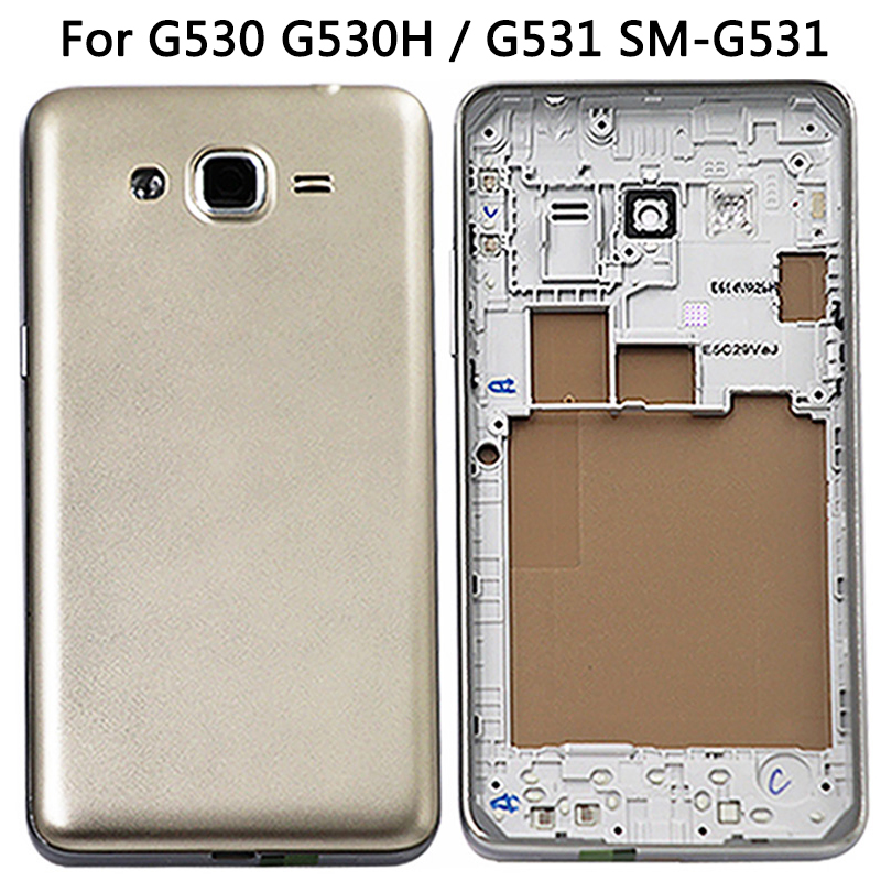 New G530 Battery Cover For Samsung Galaxy G530 G530H / G531 Back Cover Rear Plastic + Middle Frame Bezel Full Housing Case