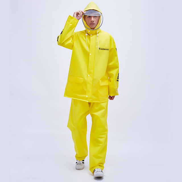 Clear Raincoat Rain Pants Suit Thickened Transparent Waterproof Plastic Jacket Coat Yellow Rain Coat Women Capa De Chuva Gift 5