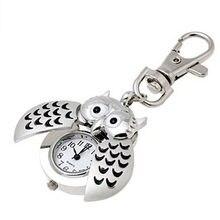 Montre de poche en forme de hibou en argent, porte-clés mignon de dessin animé, magnifique Mini montre de poche à Clip, en gros