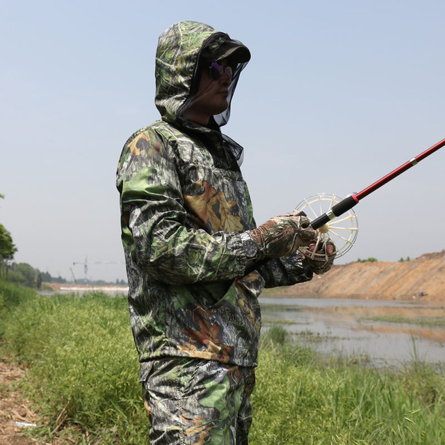 Summer Ultra-Thin Bionic Camouflage Suit Anti-Mosquito Fishing Hunting Clothes Tactical Ghillie Suit Jacket Pants Set 5