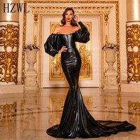 Sexy Backless Off Shoulder Black Mermaid Evening Dress Long Poet Sleeve Sweep Train Prom Dresses robe de soiree