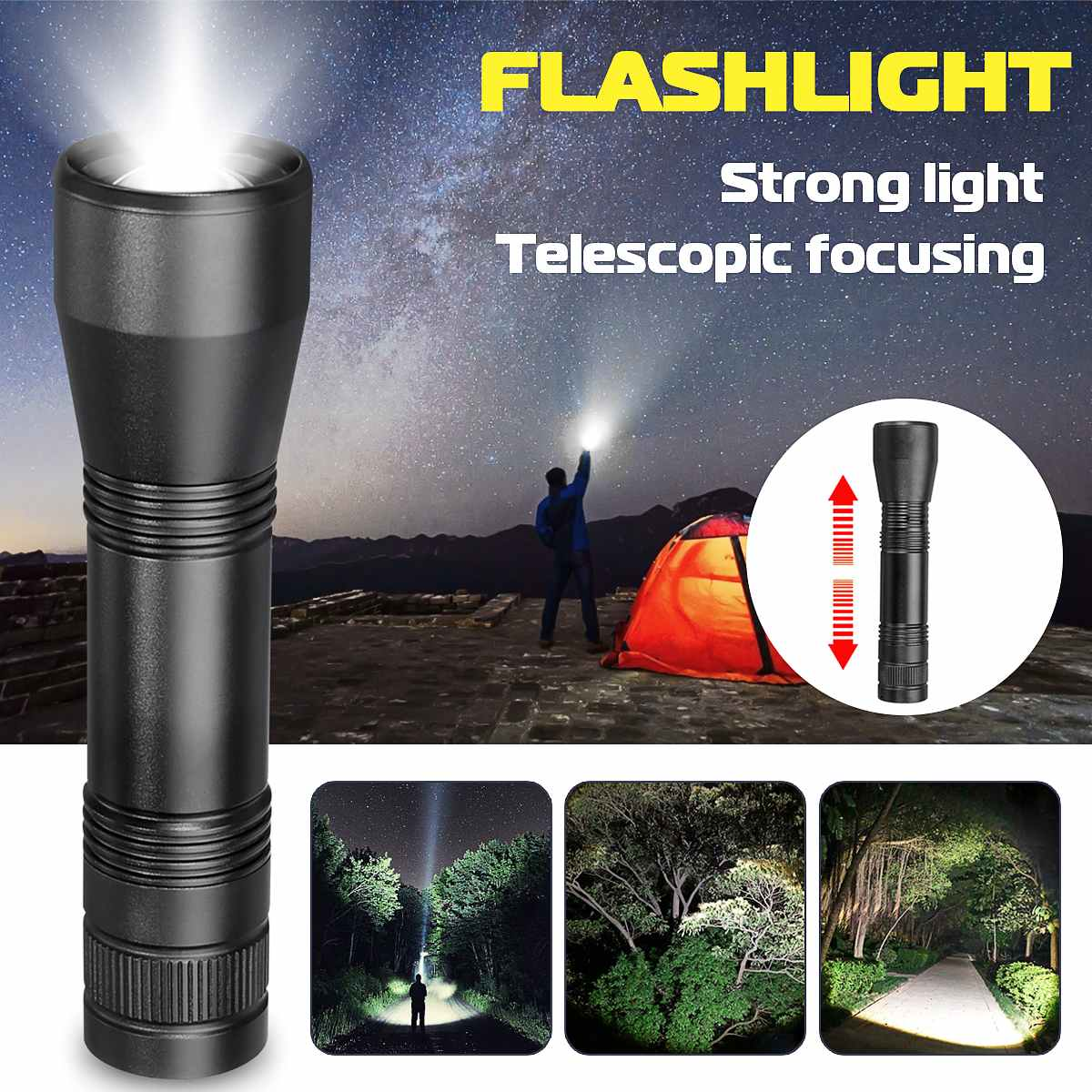 Strong LED Flashlight Bright Torches T6/L2 Zoom-able Home Outdoor Camping Bicycle Light 18650 Rechargeable Hand Light Waterproof