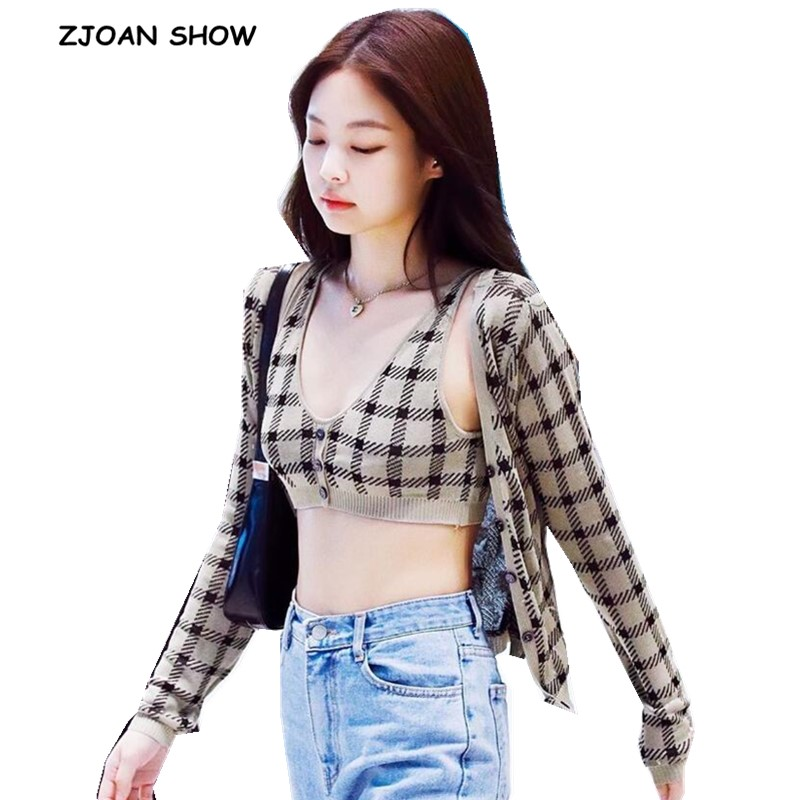 1 Set 2019 Autumn Korea Style Vintage Check Gingham Plaid Cardigan V Neck Single-breasted Button Tank Top Knitted Sweater Jumper