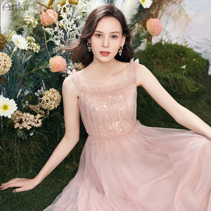 Женское Сетчатое платье с блестками ARTKA, элегантное вечернее платье на бретелях с квадратным воротником, LA20505X, лето 2020