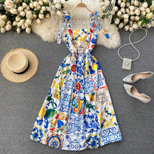 2021 nova primavera europeu americano retro impressão vestidos cinta feminina strapless magro midi vestido c594