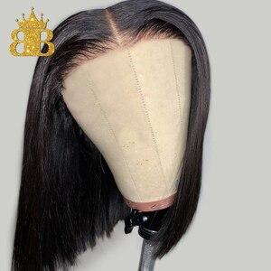 Image 4 - 짧은 밥 스트레이트 가발 130% 밀도 레미 인간의 머리 가발 여성을위한 자연 블랙 컬러 pre plucked bib hair