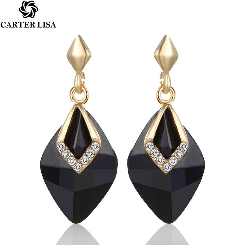 CARTER LISA Luxury  Crystal Geometry Dangles Long Earrings For Women Elegant Black Crystal Jewelry Party Gold Earring HLEZ173000