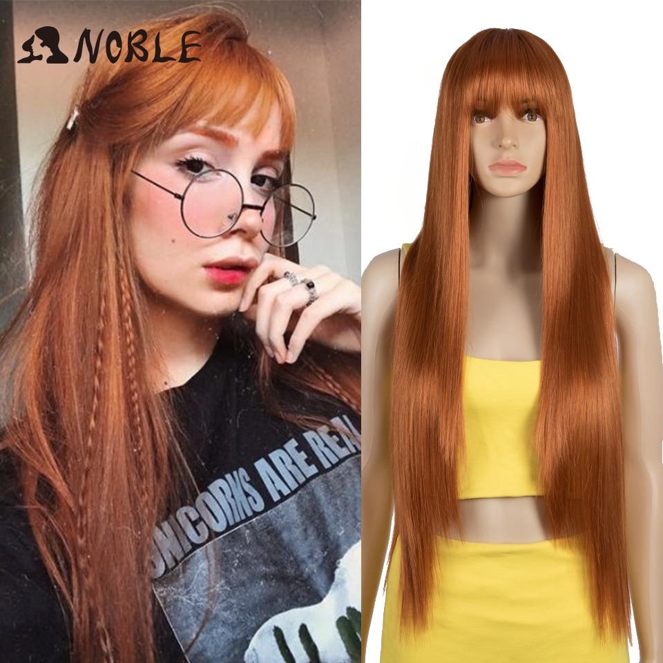 Perruque Noble avec frange longue droite perruque Orange perruque couleur perruque perruques pour les femmes Cosplay perruque résistant à la chaleur pour les femmes perruque synthétique