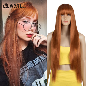Noble peruka z grzywką peruka z długich prostych włosów pomarańczowy peruka kolorowe peruki peruki dla kobiet peruka do Cosplay żaroodporne dla kobiet peruka syntetyczna tanie i dobre opinie Wysokiej Temperatury Włókna Średni CN (pochodzenie) Proste 1 sztuka tylko Średni brąz 130 Średnia wielkość Swiss koronki