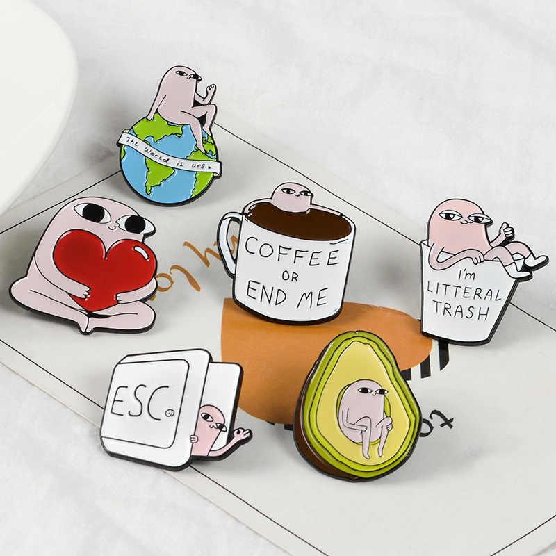 Del fumetto Distintivi e Simboli Carino Avocado Spille per Le Donne Creative Spille k Piccolo Mostro Tazza di Caffè Terra Dello Smalto Spille Accessori Dei Monili del Regalo