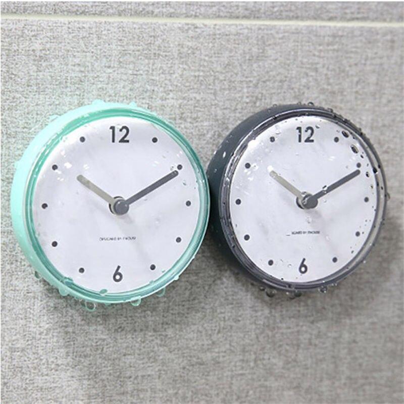 Waterproof Suction Wall Clock Bath Shower Watches Clock Home Bathroom Kitchen Accessories Home Sticker Decortion 72*40mm