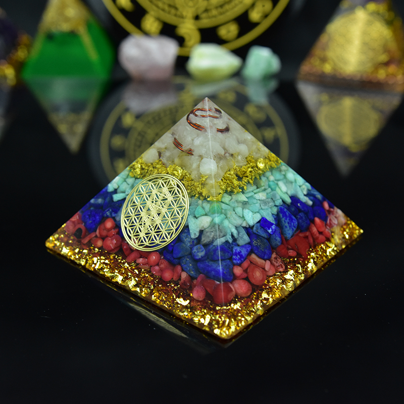 Original Orgonite Seven Chakras Stone Orgon Energy Pyramid Crystals Lapis Lazuli Amazonite Orgone Accumulator For Healing