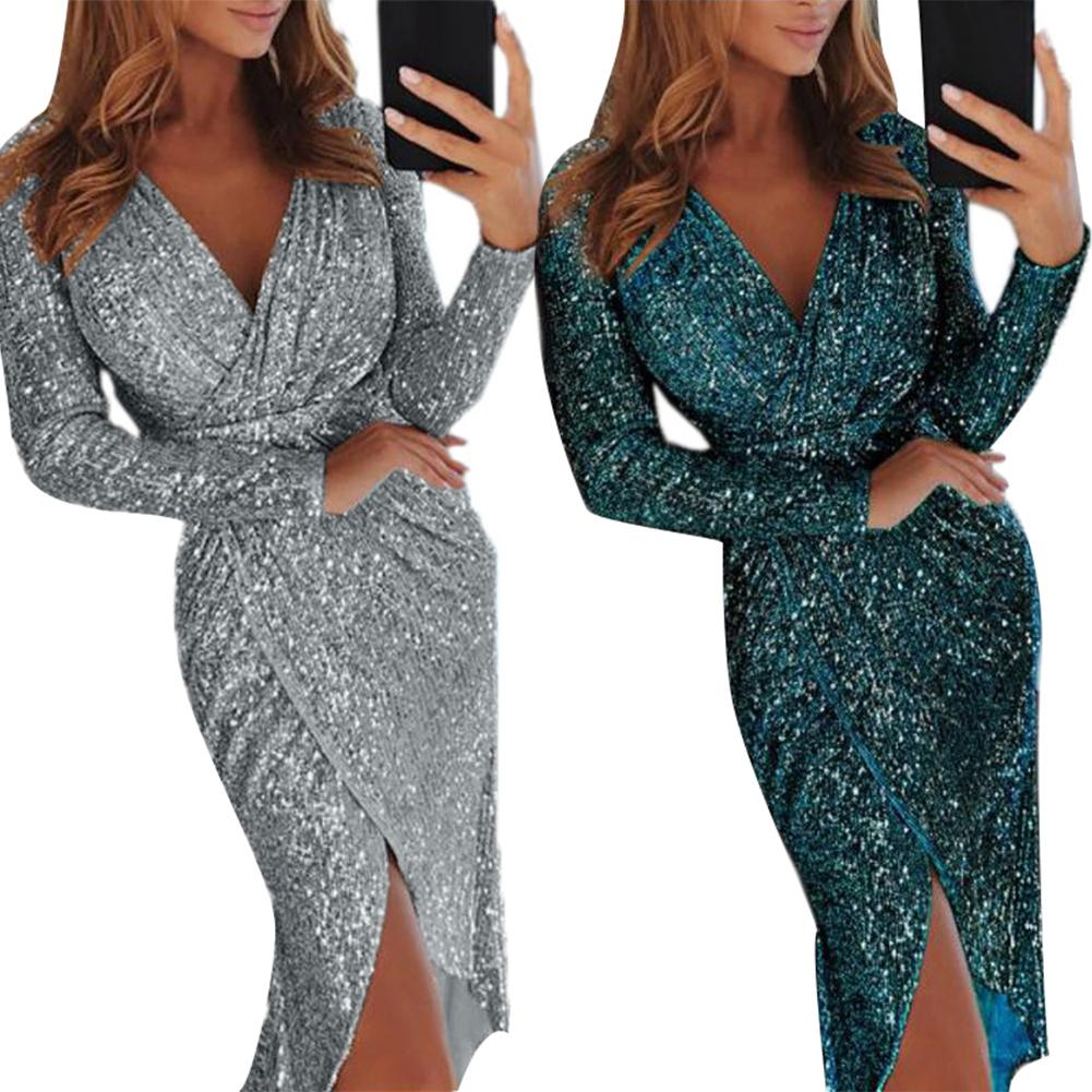 Midi <font><b>Dress</b></font> gift <font><b>Women</b></font> Plus Size <font><b>Evening</b></font> <font><b>Party</b></font> <font><b>Dress</b></font> <font><b>Sexy</b></font> <font><b>Women</b></font> Sequined V Neck High Slit Bodycon Vestidos 2020 lowest price image