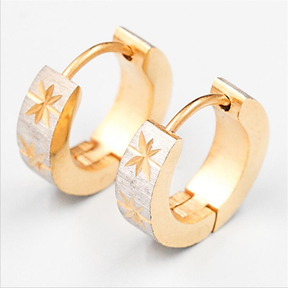 Earrings rings gold women small round leaf stainless steel fashion jewelry men push back unisex studs earrings