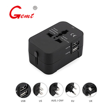 Travel Adapter Worldwide All in One Universal Travel Adaptor AC Power Plug Adapter Wall Charger with Dual USB Charging Ports zmi ha622 v2 charger wall adapter foldable prong travel plug wall charger with 2 usb ports