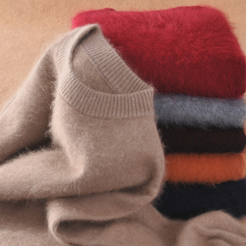 Men Pullovers 100% Mink Cashmere Knitting Sweaters 2019 New Fashion Winter Thick Warm Pullovers Man Sweater Free Shipping