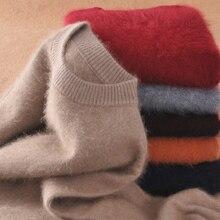 ผู้ชาย Pullovers 100% Mink Cashmere ถักเสื้อกันหนาว 2019 ใหม่แฟชั่นฤดูหนาวหนาอบอุ่น Pullovers Man เสื้อกันหนาวจัดส่งฟรี