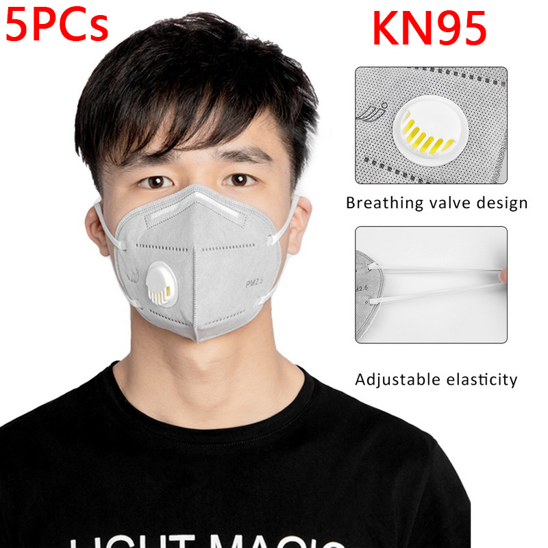5PCs KN95 Face Mask Dustproof Windproof Respirator Valve PM 2.5 Respirator Mask With Breath Valve Anti-Pollution Face Mouth Mask