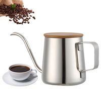 350Ml Lange Schmale Auslauf Kaffee Topf Schwanenhals Wasserkocher Edelstahl Hand Drip Wasserkocher Gießen Über Kaffee Und Tee Topf mit Holz