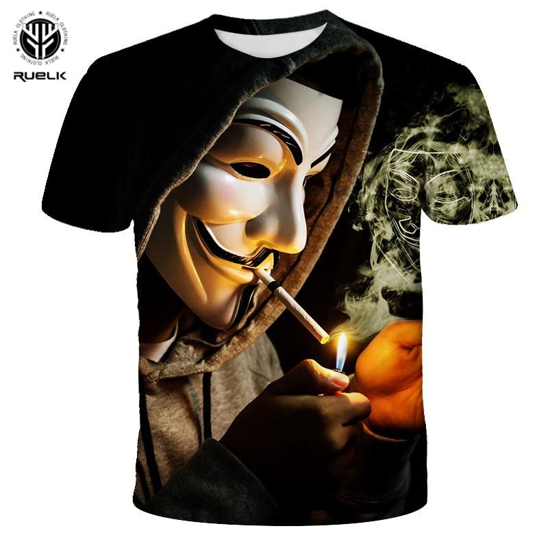 RUELK 2020 Summer New Fashion Men's Creative Hacker 3D Short-Sleeved T-shirt Men's Trend Street Hip-Hop Large Size Top XXS-6XL