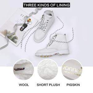 Image 2 - Donna in mode laine chaude neige bottes plate forme côté Zip à lacets bottes en cuir véritable bottes 2020 automne hiver chaussures noir blanc