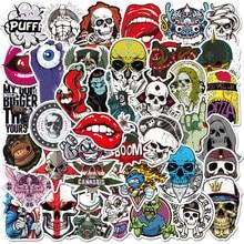 Autocollants Graffiti tête de mort série terreur, étiquette étanche, Cool, jouet classique pour enfant, pour guitare, ordinateur portable, Skateboard, bagages, téléphone, vélo, 50 pièces