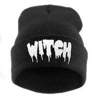 Skullies Beanies Witch-Hat Gothic Unisex Hats Stretch Knitting Warm Girls Hip-Hop